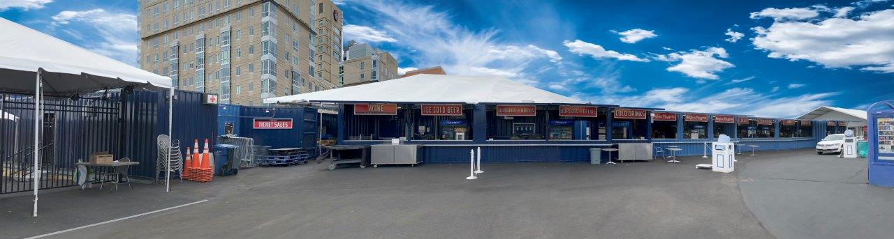 Storage Containers Modifired into Blue Hills Bank Pavilion Harbor side Concessions Stand Panoramic view